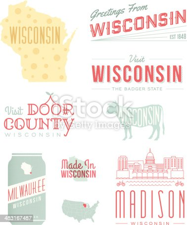 A set of vintage-style icons and typography representing the state of Wisconsin, including Milwaukee, Madison and Door County. Each items is on a separate layer. Includes a layered Photoshop document. Ideal for both print and web elements.