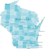 Wisconsin Vector Map Regions Isolated