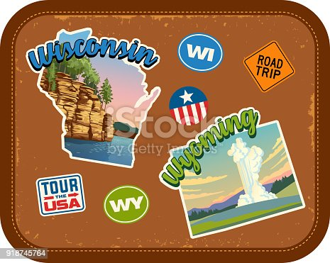 Wisconsin, Wyoming travel stickers with scenic attractions and retro text. State outline shapes. State abbreviations and tour USA stickers. Vintage suitcase background