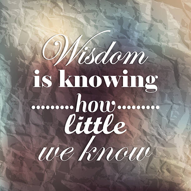 Wisdom is knowing how little we know phrase Wisdom is knowing how little we know phrase who knowing signs stock illustrations