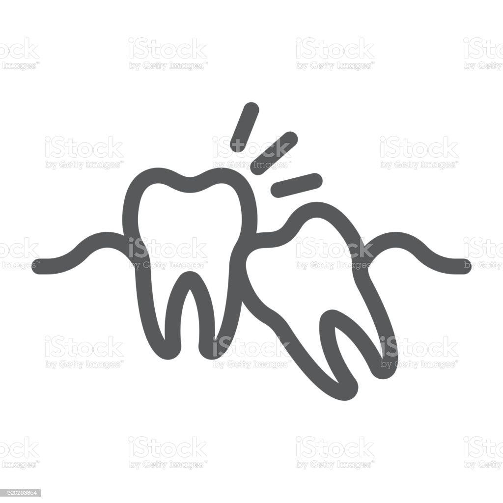 Weisheitszähne Liniensymbol Zahnmedizin Und Zahnärztliche Retinierte ...
