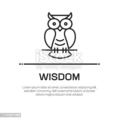 istock Wisdom Vector Line Icon - Simple Thin Line Icon, Premium Quality Design Element 1144301468