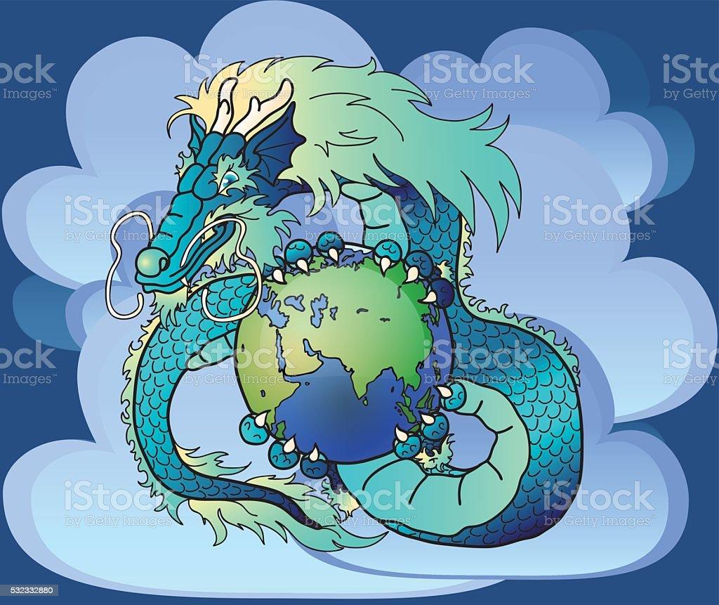 Мудрый голубой Восток Дракон против облака векторная иллюстрация