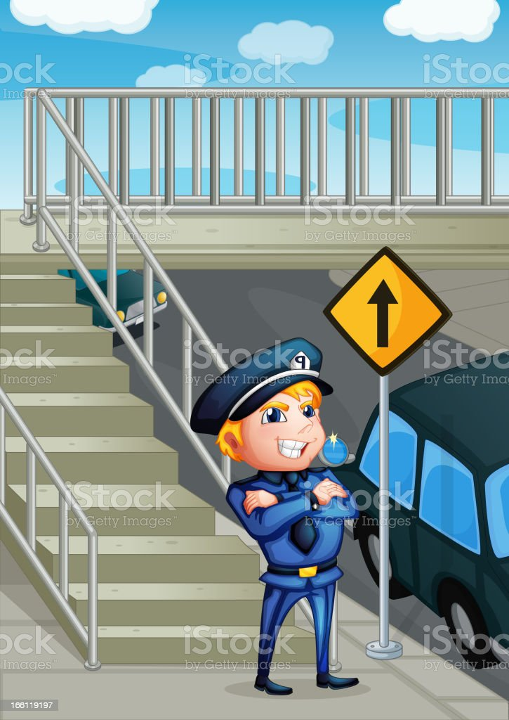 Wise face of a policeman royalty-free stock vector art