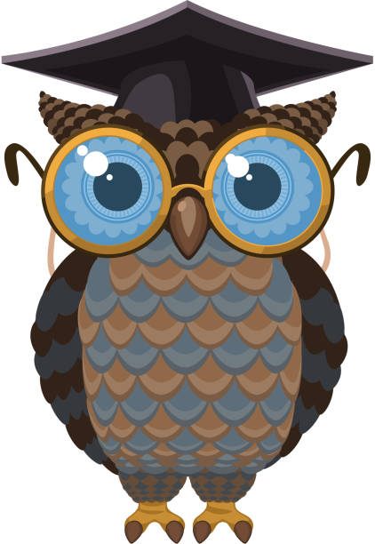 wise intelligent owl - great horned owl stock illustrations, clip art, cartoons, & icons