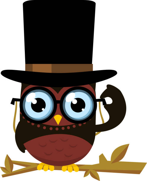 wise intelligent standing owl front view top hat glasses - great horned owl stock illustrations, clip art, cartoons, & icons