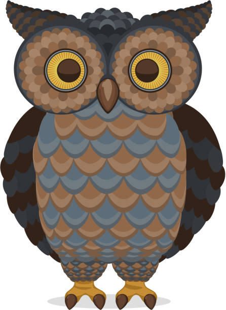 wise intelligent standing owl front view - great horned owl stock illustrations, clip art, cartoons, & icons