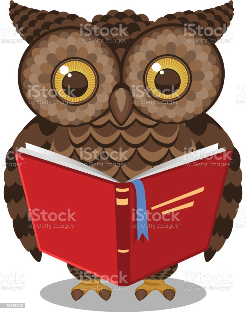 Wise Intelligent Standing Owl Reading a book royalty-free stock vector art