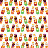 wise king christmas presents to jesus seamless pattern image