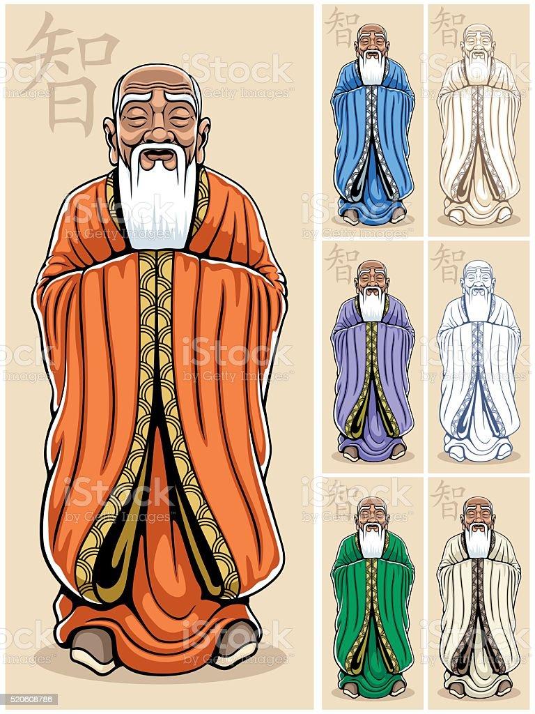 Hombre sabio - ilustración de arte vectorial