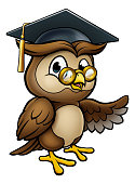 A wise owl cartoon character wearing a graduate cap mortar board and pointing with his wing