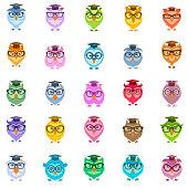 Wise owl icon set