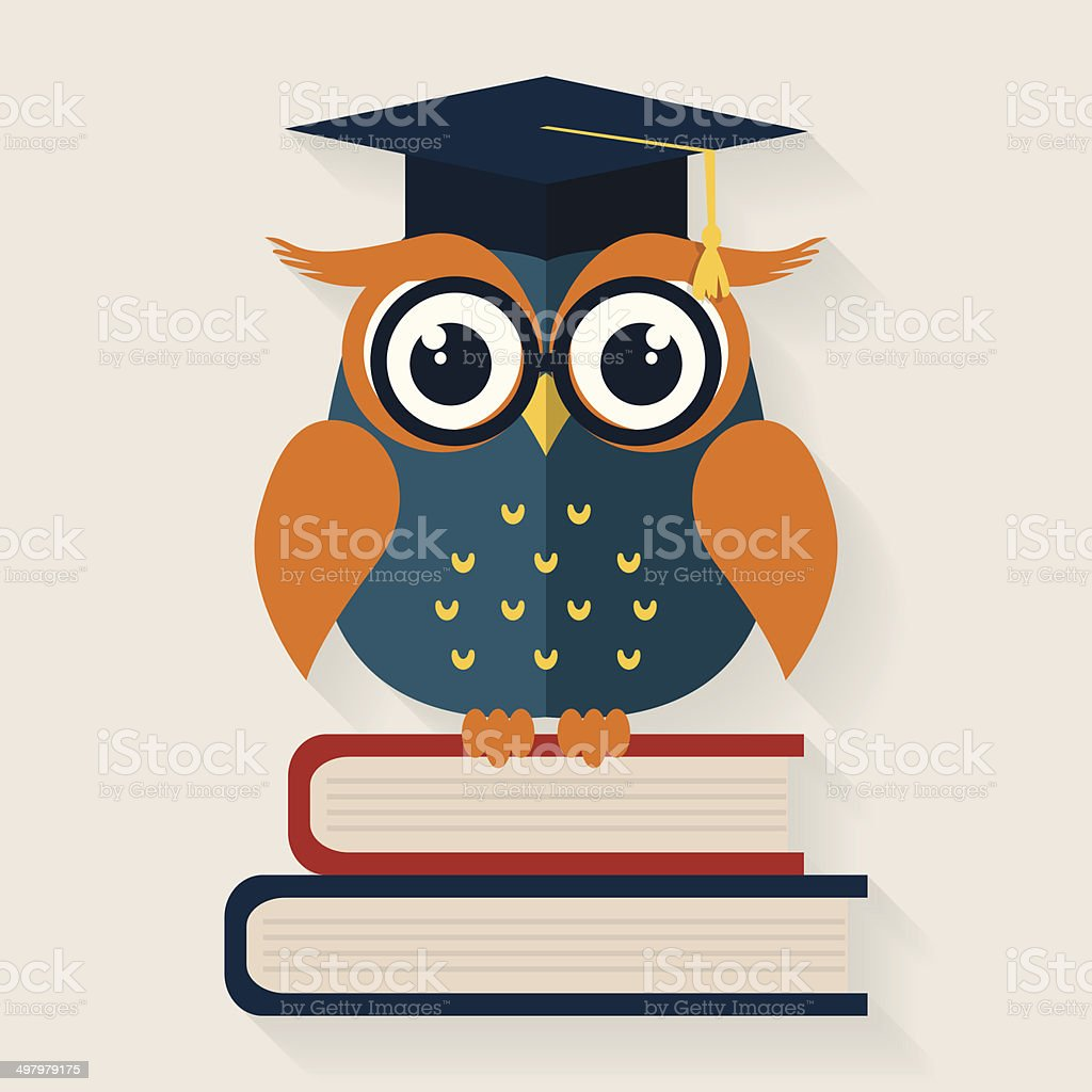 Wise owl sitting on the books. Vector illustration. vector art illustration