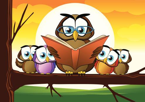 Wise Owl Teacher Cartoon