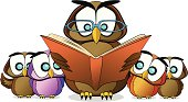 Fully editable vector illustration of a cartoon owl teaching kids to read a book.