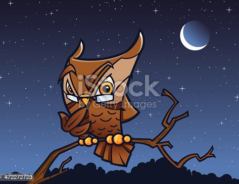 A vector illustration of an inquisitive wise owl thinking at his favorite time of the day. Basic gradients. Smart grouping for easy editing.  Includes native Freehand and Illustrator files, besides high and low resolution .jpgs.