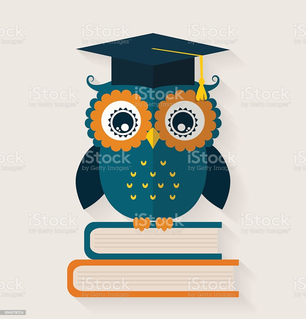 Wise owl. vector art illustration