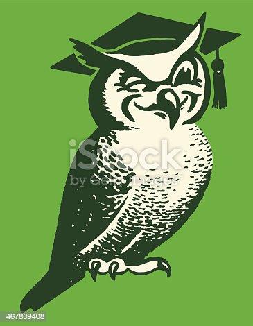 istock Wise Owl Wearing Mortarboard 467839408