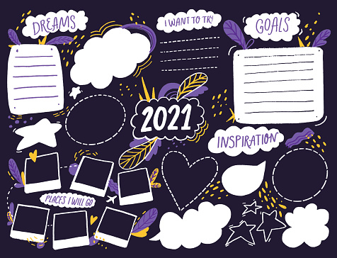 Wish board template with place for goals, dreams list, travel plans and inspiration. Vision collage for teens, nursery poster design. Journal page for planning, new year resolutions in 2021. Vision board workshop asset