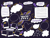 istock Wish board template with place for goals, dreams list, travel plans and inspiration. Vision collage for teens, nursery poster design. Journal page for planning, new year resolutions in 2021. Vision board workshop asset 1264295402