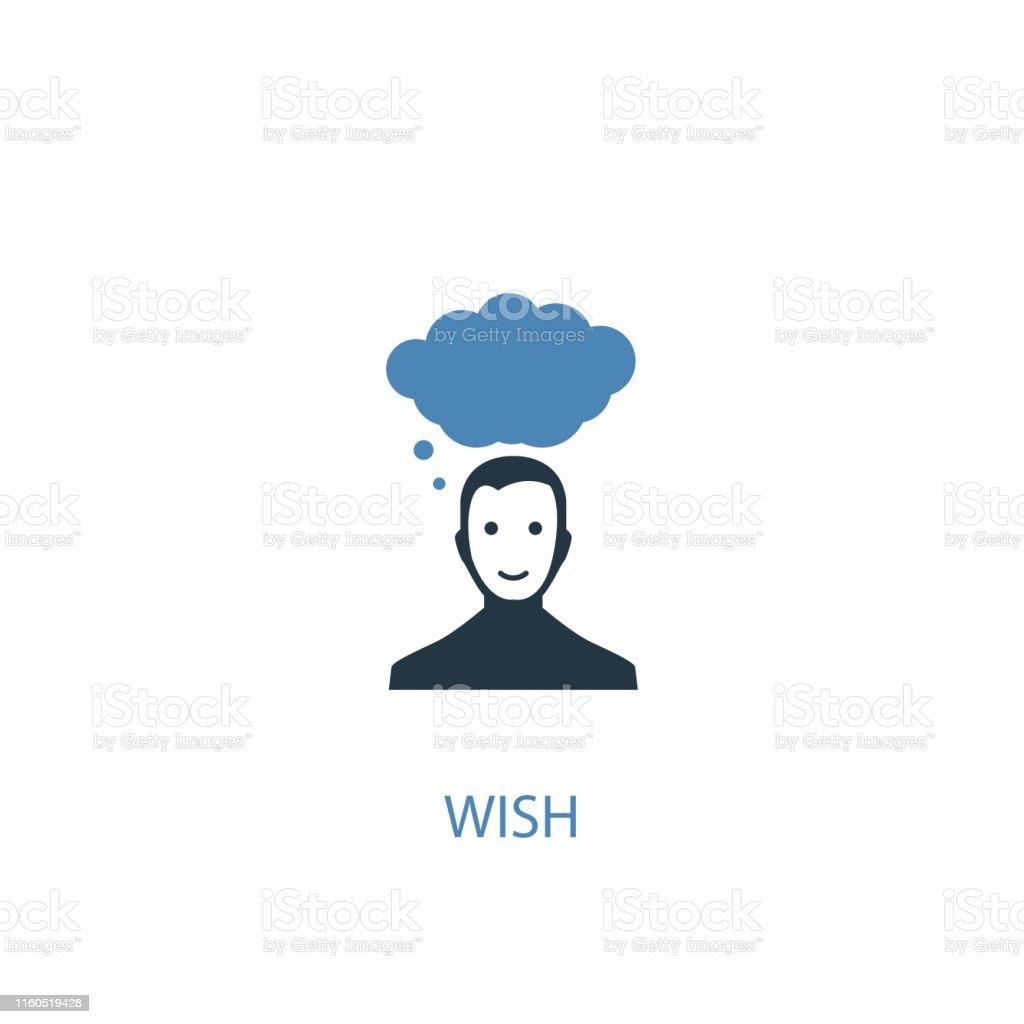 wish concept 2 colored icon. Simple blue element illustration. wish...