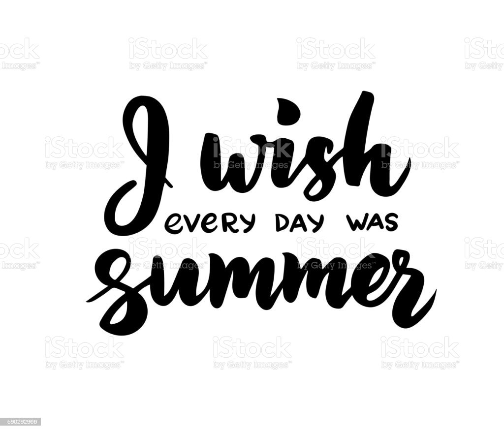 I wish every day was summer - hand drawn brush royaltyfri i wish every day was summer hand drawn brush-vektorgrafik och fler bilder på affisch
