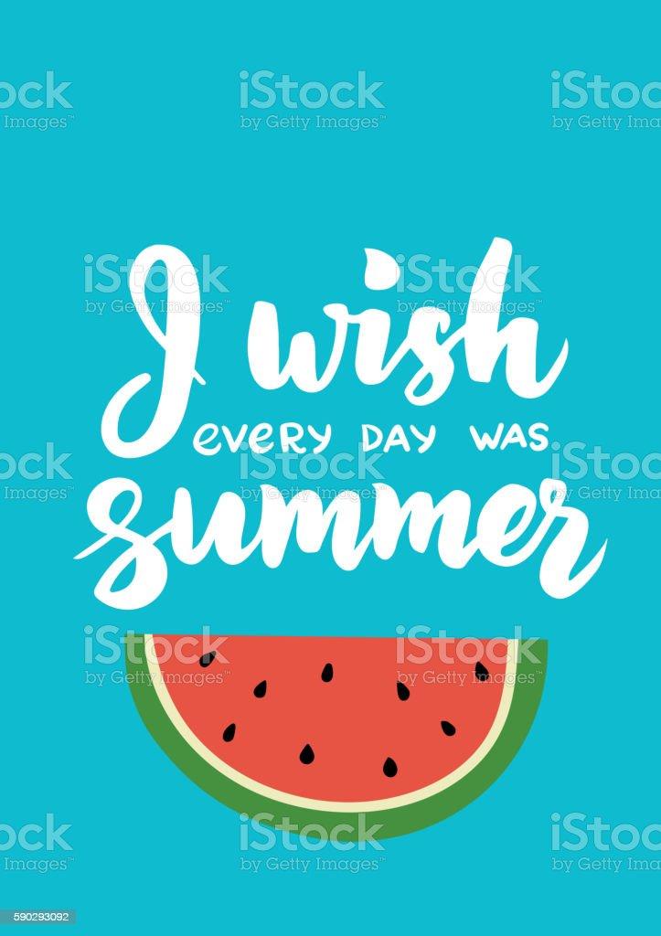 I wish every day was summer - hand drawn brush royaltyfri i wish every day was summer hand drawn brush-vektorgrafik och fler bilder på affisch