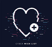 Glitch effect vector icon illustration of wish list with abstract background.