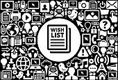 Wish List  Icon Black and White Internet Technology Background. This image features the main icon on a white round button. The vector button is surrounded by a seamless pattern of internet and modern technology icons. The icons vary in size and are white in color. The background is a solid black color. Icons include such technology elements as computer, email, internet, communications and many more.