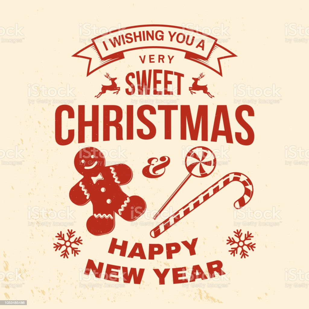 i wish you a very sweet christmas and happy new year stamp sticker set with