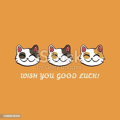 Isolated illustration of three lucky cats (maneki neko) and text