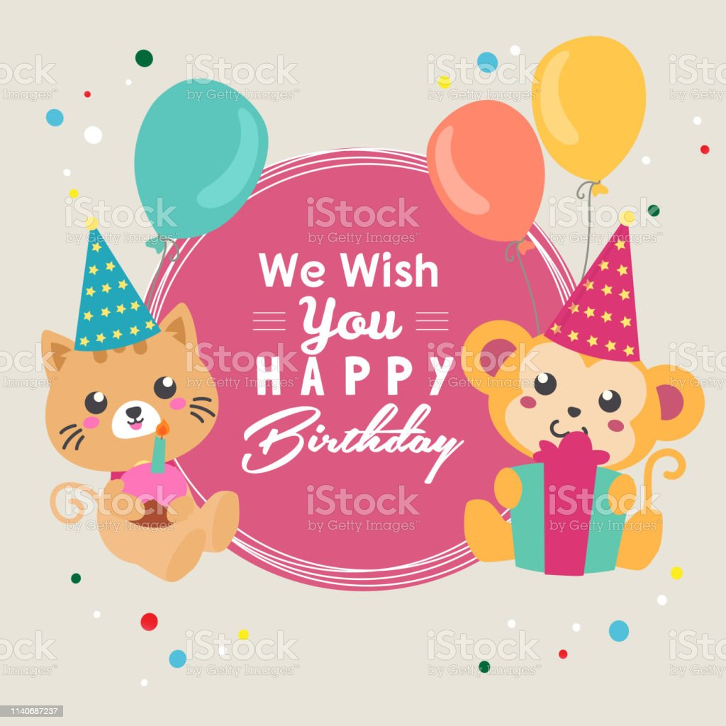 Wish You Happy Birthday With Cat And Monkey Balloon Stock