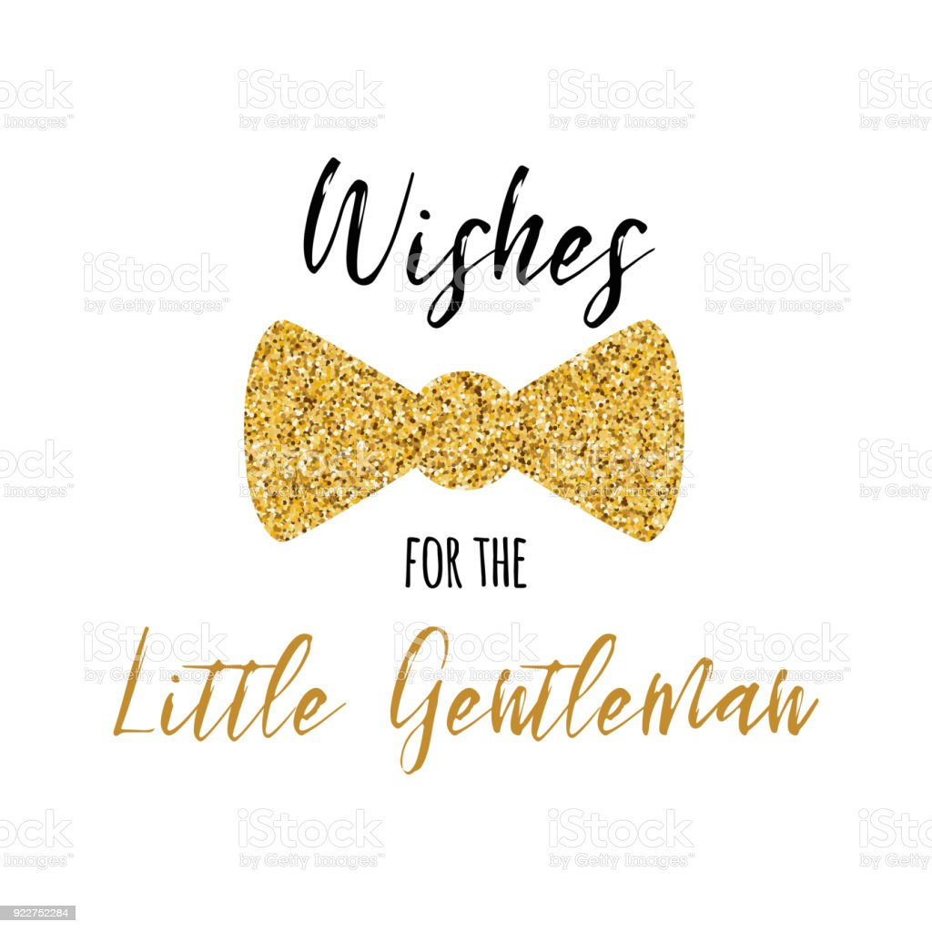 Wishes For The Little Gentleman Text Decorated Gold Bow Tie