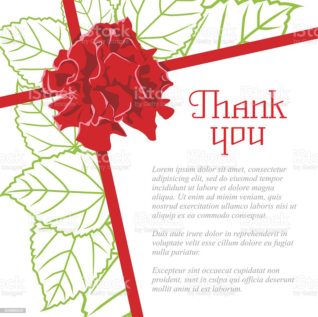 Wishes Thank You With A Rose And Leaf Stock Vector Art
