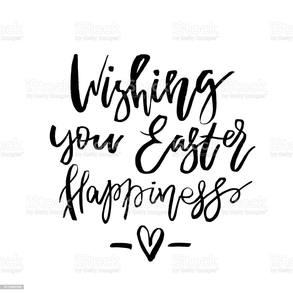 Wishing you easter happiness card with calligraphy text