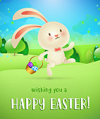 Wishing you happy Easter lettering, bunny with eggs in basket. Easter greeting card. Typed text, calligraphy. For greeting cards, posters, invitations, banners, leaflets and brochures.