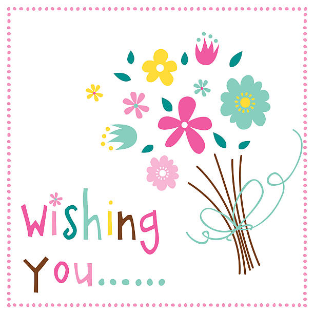 wishing you with bouquet design - illustration - get well soon stock illustrations, clip art, cartoons, & icons