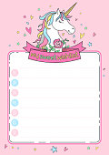 "Cute wishlist card with unicorn, ribbon, flowers, hearts, stars on pink background. Christmas or Birthday organizer. Lettering 'My sweet wishlist"". Cartoon character. Doodle vector background."