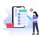 Modern flat illustration design of online shopping