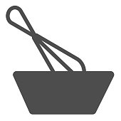 istock Wisk and bowl solid icon, Cooking concept, Dough making sign on white background, Mixing with whisk icon in glyph style for mobile concept and web design. Vector graphics. 1226867794