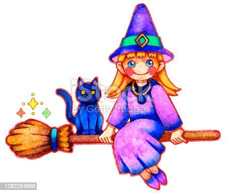 istock A witch and a black cat flying in the sky on a broom 1282254958