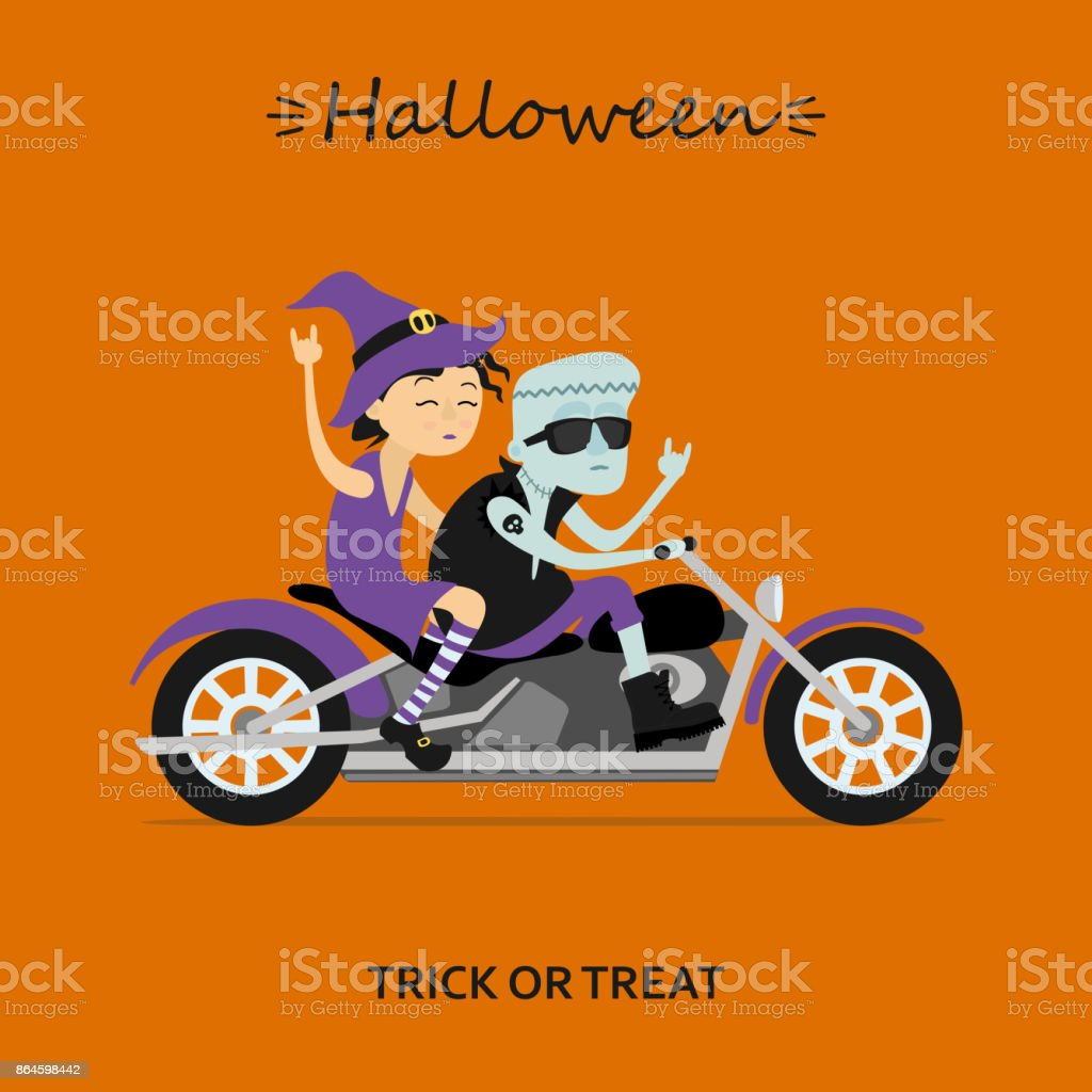 Witch and Frankenstein ride the motorcycle vector art illustration