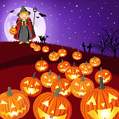 teenage girl dress up witch costume along with the jack o'lantern on Halloween asking for candy or other treats.