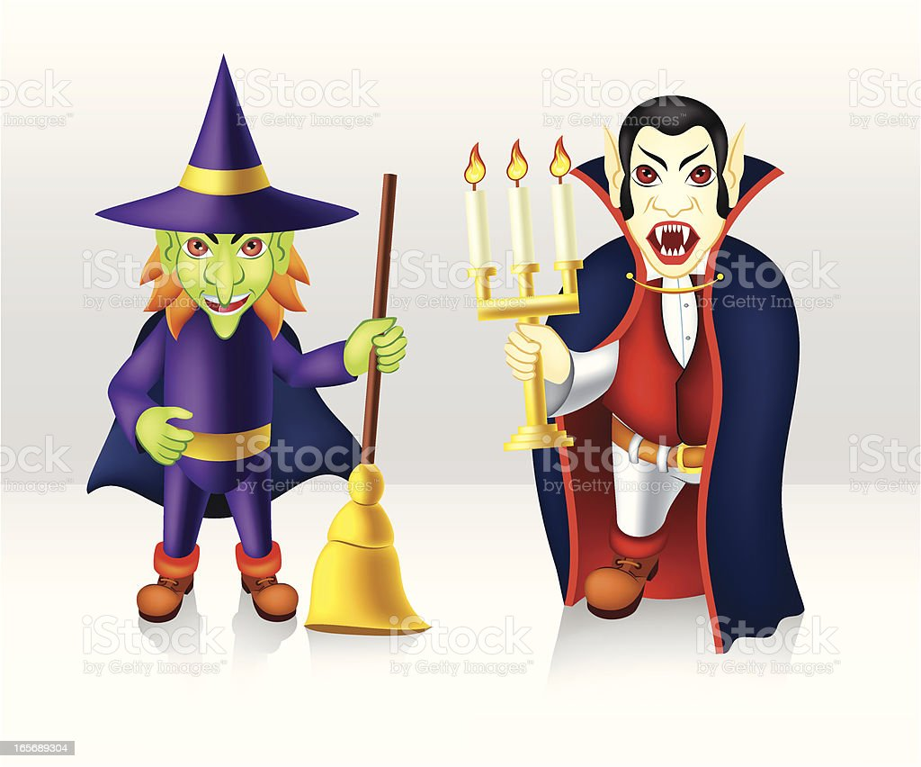 Witch and Vampire royalty-free stock vector art