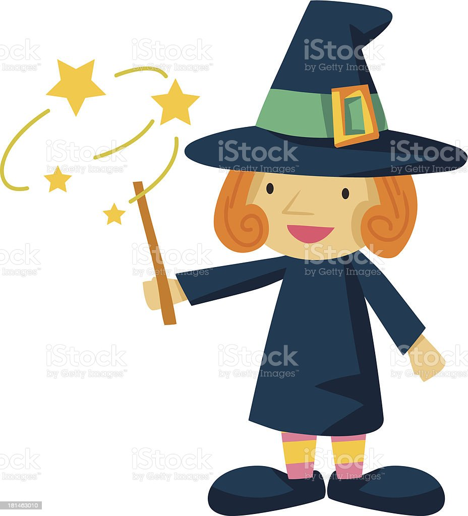 Witch and Wand royalty-free stock vector art
