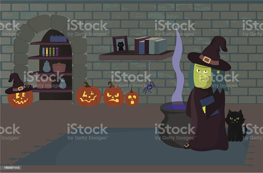 Witch at Home in Dungeon with Cat vector art illustration