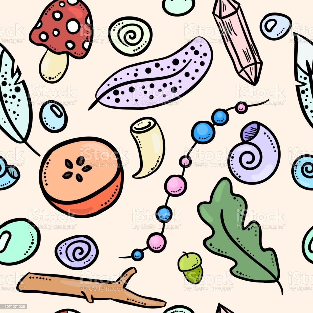 Witch Boho Items Colorful Doodles Seamless Pattern Stock