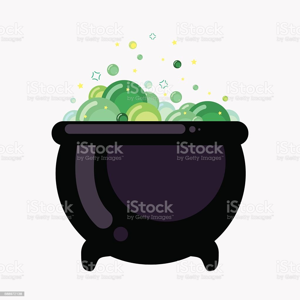 Witch bucket of boiling green liquid. Magic potion for Halloween. vector art illustration