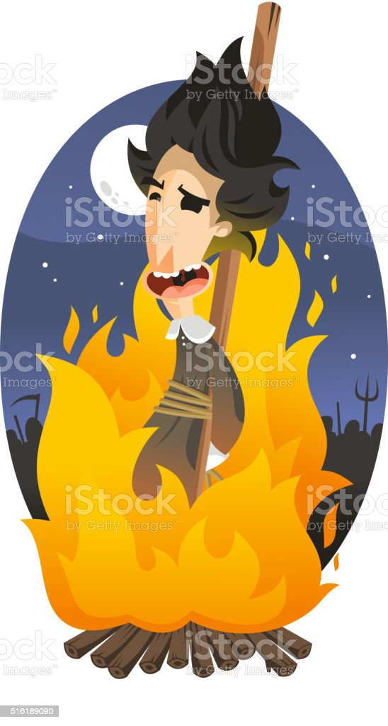 Witch burning at the stake vector art illustration