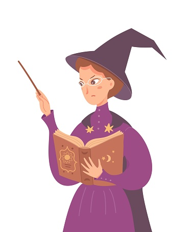 Witch casting spell with wand and book. Woman in glasses, hat and purple gown vector illustration. Fantasy world with magic and miracles. Angry magician isolated on white background